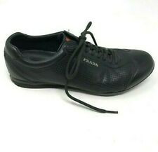 Prada Mens 7 Shoes Black Leather Lace Up Sneakers Logo Sport Perforated