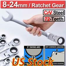 US Spanner Combination Tool Set Flexible Head Ratchet Wrench 16Pcs Metric 8-24mm