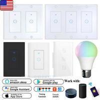 WIFI Smart Wall Light Touch Panel Switch Light Bulb for Alexa Google Home App US
