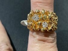 14 K gold plated estate jewelry mens ring size 8 cubic zirconia