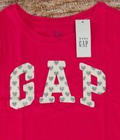 NWT Girls Baby GAP Arched Logo T Shirt Heart Summer Azalea - 806123