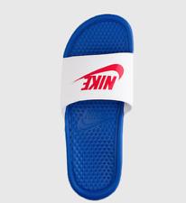 New Men's Nike Benassi JDI Slides Game Royal/Red 343880-410 Sandals