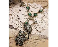 Glitz Fashion Vintage Elegant Green Peacock Necklace Chain for Women