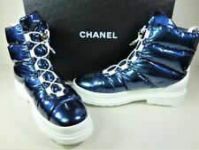 CHANEL 42 Metallized Fabric Blue Winter Sport Short Moon Ankle Boot Booties NEW