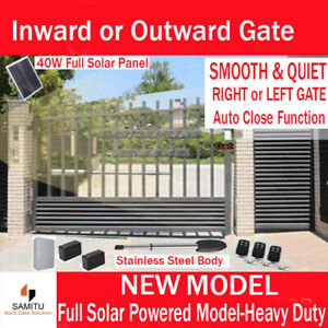 Solar Powered Single Swing Gate Opener Electric Automatic 40W Panel 17AH Battery