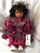 1ST IMPRESSIONS PORCELAIN DOLL 21 INCH African American BEAUTIFUL Dress