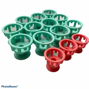 Clairol Lock N Roll Replacement  Hot Rollers Curlers 14 Pageant Cheer Green