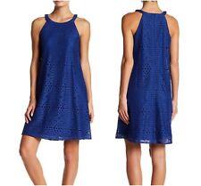 NEW Eliza J. Womens Royal Blue Eyelet A Line Dress $148 Prom Wedding Size 4
