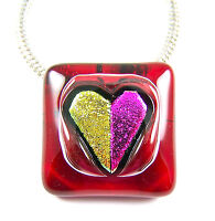 HEART PENDANT PIN Combo Dichroic Fused Glass Ruby Red Magenta Pink Gold Scarlet