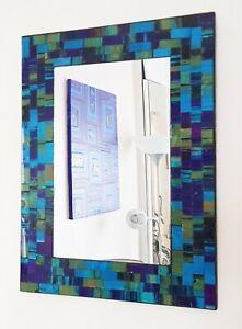 Rectangular mosaic wall mirror teal & purple handmade in Bali 40cm NEW
