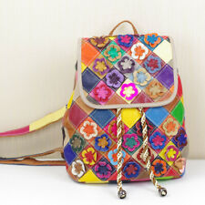 Personalized Colorful Genuine Leather Flower Women Backpack Cowhide Shoulder Bag