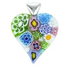 GlassOfVenice Murano Glass Modern Millefiori Heart Pendant - Pastels