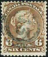 Canada #27a used F 1868 Queen Victoria 6c yellow brown Large Queen 2-ring '13'