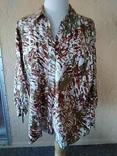 Erika 3/4 SleeveXL Shirt Blouse V Neck Button Down Multi color Floral Collar *u4