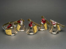 5 Vintage Nos Steel Metal Carillon Bells Christmas Ornaments Decoration Taiwan