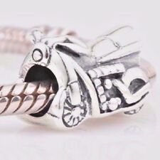 Genuine Solid 925 Sterling Silver Motorbike Charm Bead