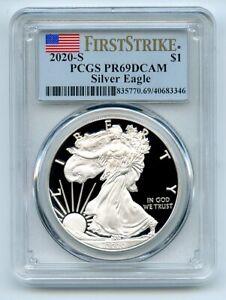 2020 S $1 Proof American Silver Eagle Dollar 1oz PCGS PR69DCAM First Strike