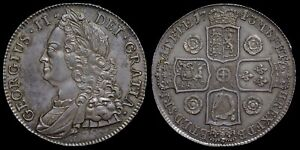 SCARCE HIGH GRADE GEORGE II, 1743 CROWN, ROSES REVERSE