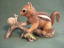 Homco Masterpiece Collection 1980 Porcelain Chipmunk with Snail Figurine