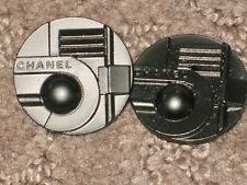 CHANEL  FRONT 2 AUTH  BUTTONS GUN METAL SILVER 22 MM/   1'' LOT 2