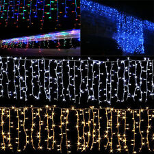 96-1500 LED Icicle Curtain String Fairy Hanging Lights Xmas Wedding Party Garden