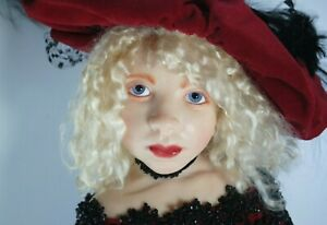 """Kim Lasher 1993 Early Doll 19"""" Red Dress And Hat"""