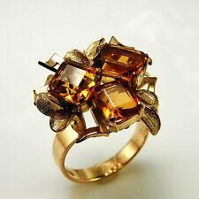 WOW 1940s 1950s Citrine Modernist Cocktail Ring 14K Gold Cluster Floral Cluster