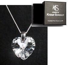 Silber Hals-Kette mit Swarovski® Kristall Herz + Original Kristall Schmuck Etui