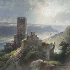 Astudin von Nicolai 1847-1925 RHEIN LANDSCHAFT Burg Gutenfels Moskau Lahnstein