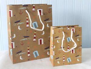 Nautical Print Design Gift Bag Lighthouse Beach Hut Boats 1, 2 or 5 Bags