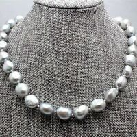 """Real Natural 9-11MM Silver Gray Akoya Cultured Pearl Baroque Necklace 18"""" AAA"""