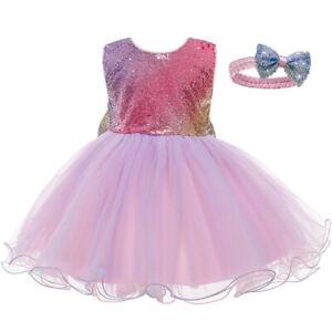 Kids Baby Rainbow Girls Party Sequins Dress Wedding Bridesmaid Dresses Princess
