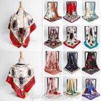 "Womens Printed Hijab Scarfs Square Head Wrap Scarves Silk-Satin Shawl  35""*35"""