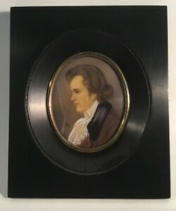 Rare Antique Profile French Miniature Portrait of Young Ludwig van Beethoven
