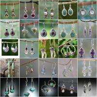Trendy 925 Silver Dangle Drop Earrings Hook Moonstone Women Fashion Jewelry Gift