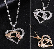 Mother's Day Mom Hold Kids Children Hand Love Heart Pendant Necklace Jewelry Hot