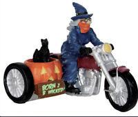 """LEMAX Spooky Town Halloween """"Born 2 b wicked"""" Motorcycle Witch w/ Cat Sidecar"""
