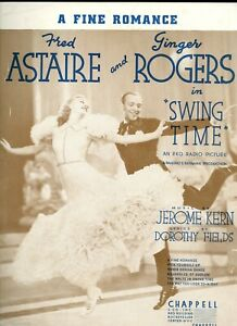 Vintage Feuille Musique Fred Astaire Ginger Rogers En Swing Temps