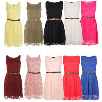 Women Ladies Lace Belted Skater Dress Frankie Tailored Sleeveless Shift Dress
