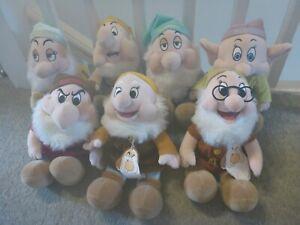 """Disney Snow White And The Seven Dwarfs: 13"""" 7 Dwarfs Plush Set/Lot"""