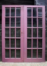 "60""x79"" Pair Antique Vintage Old Wood Wooden French Double Doors 30 Window Glass"