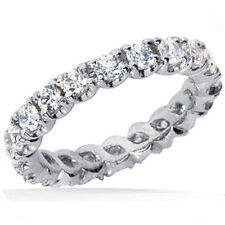1.90 ct Round Diamond Eternity Band Wedding Ring F color VS clarity, size 6, 14K