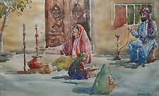 MOAKURAM ALI - Vintage South Asian Watercolor Painting - Signed - Mid 20th C.