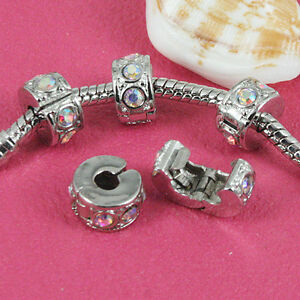 Fashion! Multi-colors CRYSTAL EUROPEAN STOPPER CLIP/LOCKS BEADS CHARMS  5X10MM