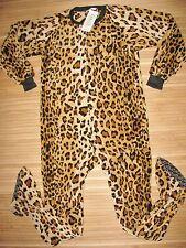 FOOTED PAJAMAS Sleep BODYSUIT Adult MEDIUM Poly PLUSH FLEECE Leopard Cheetah NWT