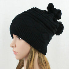 Womens 2-in-1 Baggy Knit Beanie Winter Hat Ski Cap Skull Snood Scarf Black WB