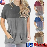 Women Short Sleeve Round Neck T-Shirt Casual Loose Pocket Tunic Blouse Tops Tee