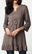 XL NWT Reborn Cable Knit Button Front Ruffle Hem LS Sweater Tunic