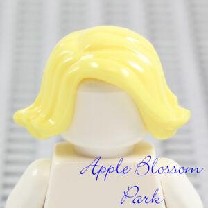 NEW Lego Girl Minifig Short BLONDE HAIR - Female Wavy Yellow Curled Up Head Gear