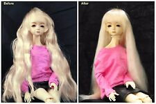 "1/3 8-9"" BJD SD DZ DOD LUTS Recurlable Doll Wig Blonde Long Wavy w/ Bangs"